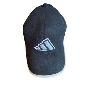 Mens Adidas Fitted XL 7 3/8 Stitched Three Stripe Patch Accents Hat Black Grey